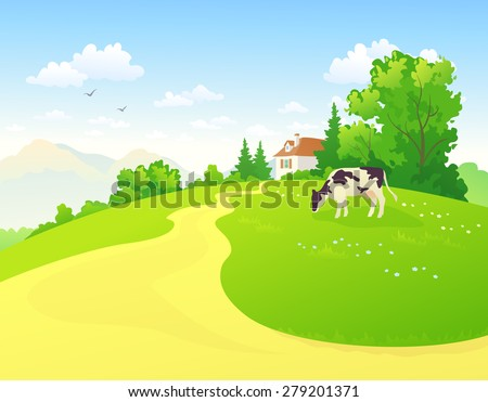Vector illustration of a rural scene with a cow - stock vector
