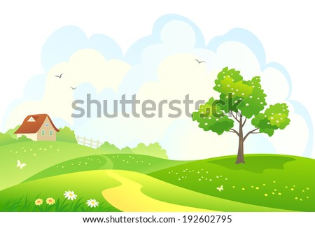 Vector illustration of a rural spring landscape - stock vector