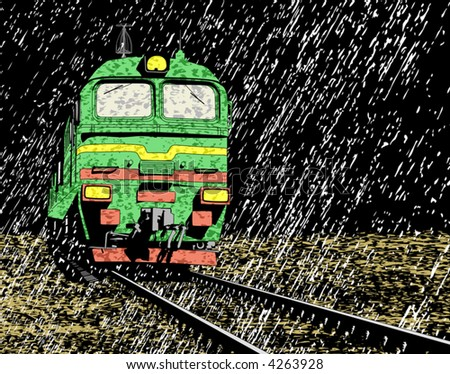 Vector illustration of a Russian train in rain at night - stock vector