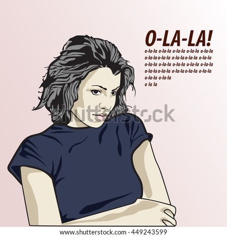 vector illustration of a sad woman . copy space - stock vector