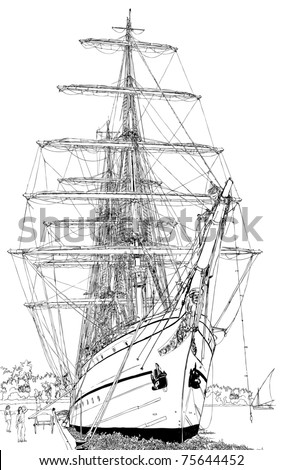 vector illustration of a sailing boat - stock vector