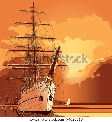 vector illustration of a sailing boat at sunset - stock vector