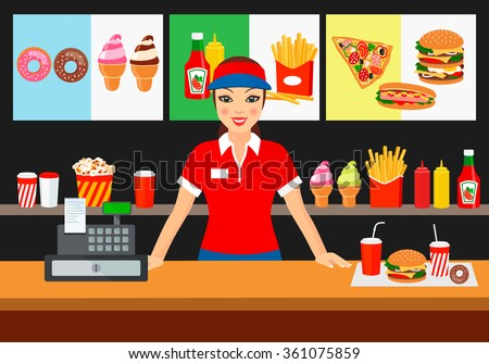 Vector illustration of a salesman in a fast food restaurant, smiling customer. to demonstrate the food and advertising products. - stock vector