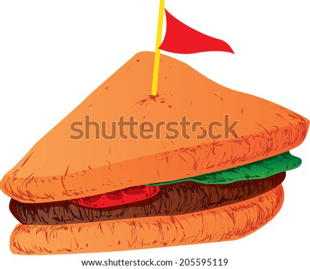 Vector Illustration of a Sandwich slice with a flag decoration on top - stock vector