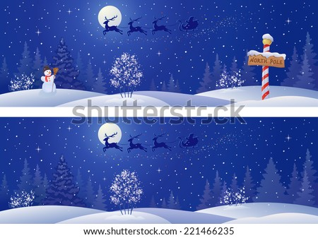 Vector illustration of a Santa sleigh flying above snowy night woods - stock vector