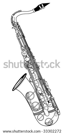 Vector illustration of a saxophone on a white background - stock vector