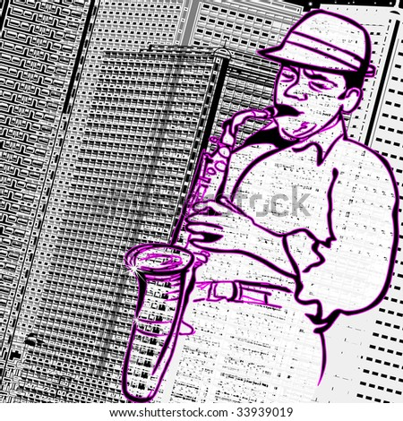 Vector illustration of a saxophonist on a city buildings background - stock vector