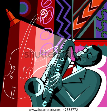 Vector illustration of a saxophonist on a colorful background - stock vector