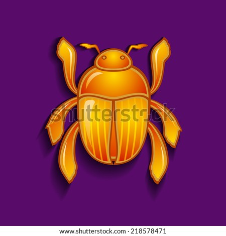 Vector illustration of a  scarab beetle - stock vector