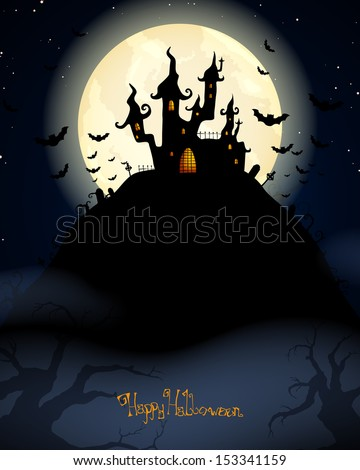 Vector Illustration of a Scary Halloween Background - stock vector