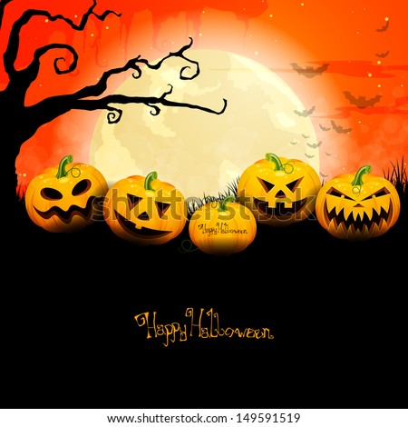 vector of a scary halloween background with pumpkins