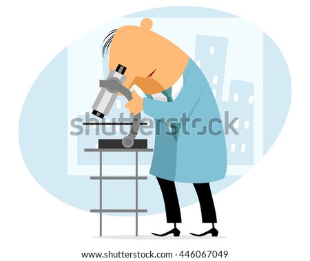 Vector illustration of a scientist with microscope