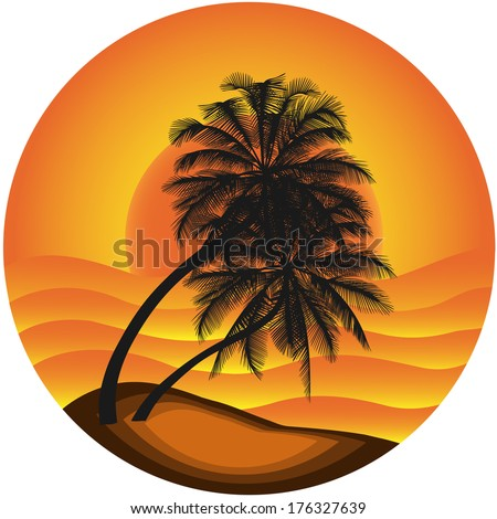Vector illustration of a sea landscape with a palm tree. the isolated objects.