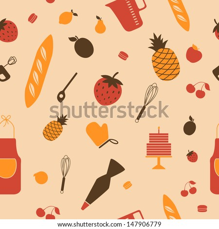 Vector Illustration of a Seamless Background Pattern with Kitchen Tools - stock vector