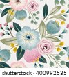 Vector illustration of a seamless floral pattern with spring flowers. Lovely floral background in sweet colors - stock vector