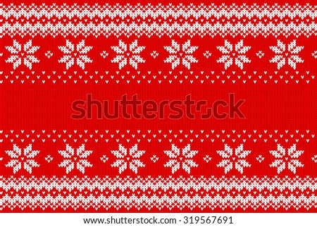 vector illustration of a seamless red and white knitted background - stock vector
