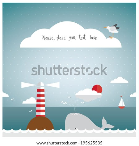 Vector illustration of a seaside background in a vintage style with a whale, a lighthouse and a little boat on the horizon. Paper cut style. - stock vector