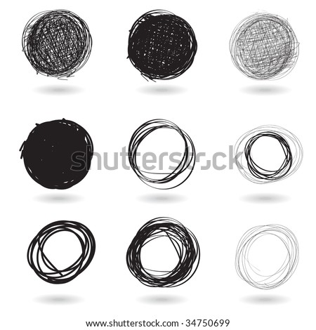 Vector - Illustration of a series of pencil drawn graffiti circles - stock vector