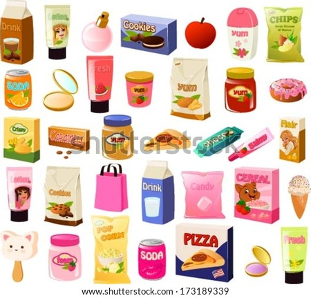Vector illustration of a set of a teenage girl's stereotypical food items. - stock vector