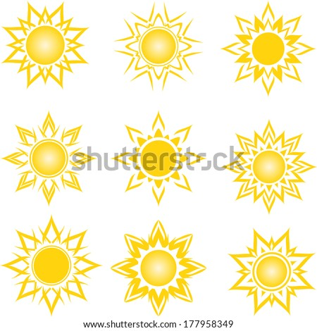 vector illustration of a set of an abstract suns  - stock vector