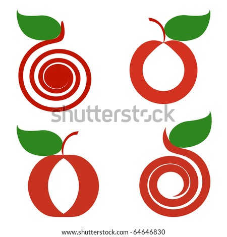 vector illustration of a set of apples isolated on white background.  can be used as logo - stock vector