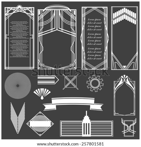 Vector illustration of a set of art deco hi-tech borders, frames and other design elements for scrapbook, web designs and other decorations - stock vector