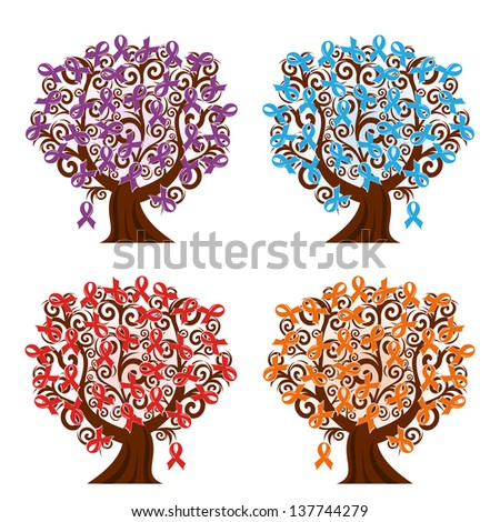 vector illustration of a set of awareness ribbons trees - stock vector