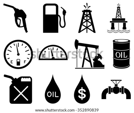 Vector illustration of a set of black and white icons representing the oil and gas industry. - stock vector