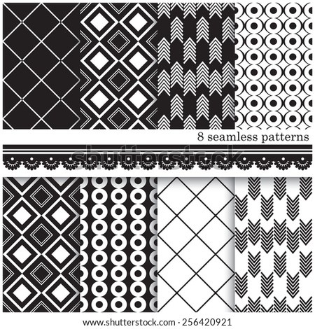 Vector illustration of a set of black and white seamless patterns, arranged in tiles for scrapbook and other designs - stock vector