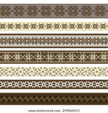 Vector illustration of a set of brushes, borders, frames in contrast colors, for scrapbook, decorations, templates and other designs - stock vector