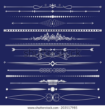 Vector illustration of a set of calligraphic dividers and background frames - stock vector