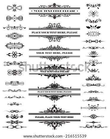 Vector illustration of a set of calligraphic dividers and floral page elements - stock vector