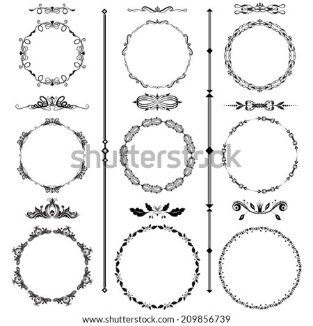 Vector illustration of a set of calligraphic frames and divider elements in black, isolated on white - stock vector