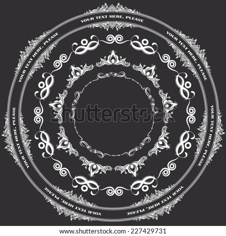 Vector illustration of a set of calligraphic frames, divider elements brushes samples, isolated on black - stock vector