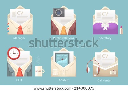 Vector illustration of a set of characters of different envelopes office occupations with a summary on the blue background - stock vector