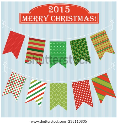 Vector illustration of a set of Christmas and New Year garlands, pennants for scrapbook decoration or other purposes  - stock vector