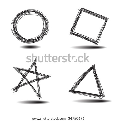 Vector - Illustration of a set of common hand drawn shapes, circle, square, star, triangle - stock vector