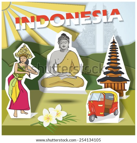 Vector illustration of a set of common, traditional symbols for traveler guide - Indonesia -  postcard templates and other designs in paper cut style, hand drawn.  - stock vector