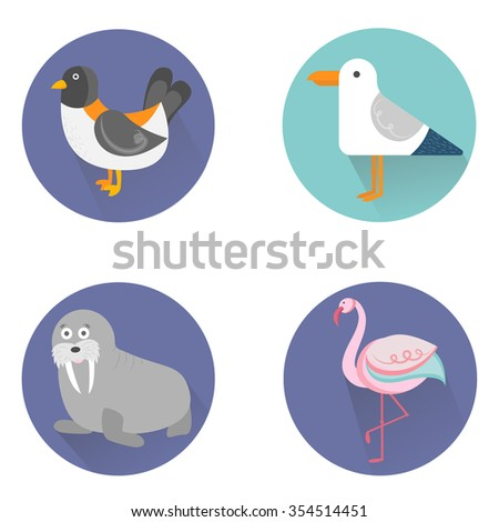 Vector illustration of a set of cute animals icons (flat design)