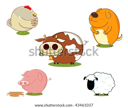 Vector illustration of a set of cute farm animals. Animals include a cow, a sheep, a chicken and a dog. Each animal saved on a separate layer. No gradients used. - stock vector