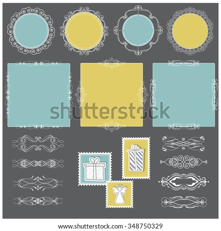 Vector illustration of a set of filigree blank tags, labels, frames, page dividers and stamps for scrapbook and design