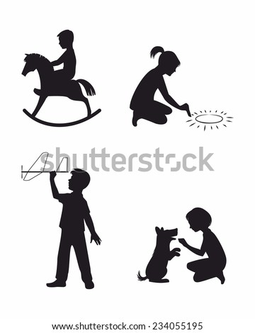 Vector illustration of a set of four children playing - stock vector