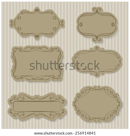 Vector illustration of a set of frames in romantic style, pastel colors