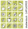 Vector illustration of a set of fruits and vegetables in graphic style for cook books, recipes or scrap-booking  - stock