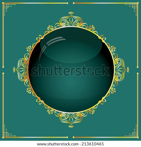Vector illustration of a set of gorgeous golden ornamental frames with glass effect, EPS10 - stock vector