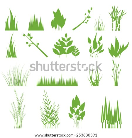 Vector illustration of a set of graphic design elements - grass, isolated on white - stock vector