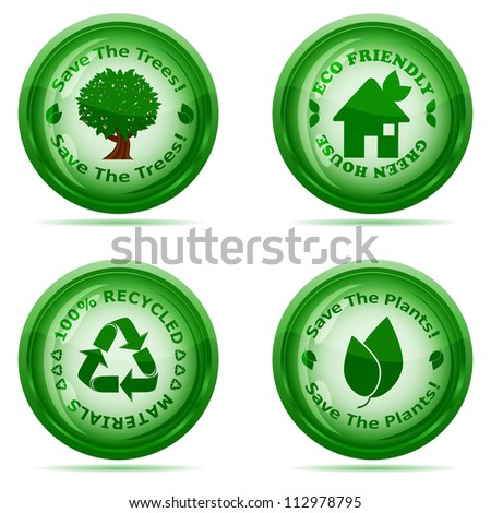 Vector illustration of a set of green environmental icons isolated on white background - stock vector