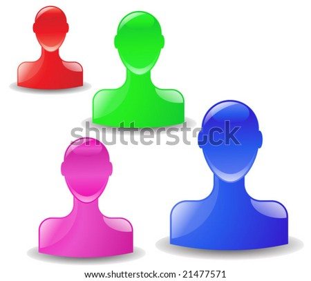 vector illustration of a set of head icons - stock vector