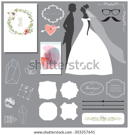 Vector illustration of a set of labels, page dividers, frames, abstract crystals and other design elements for wedding invitation templates and other arts and designs