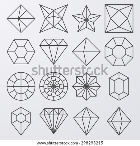 Vector illustration of a set of linear jewels.